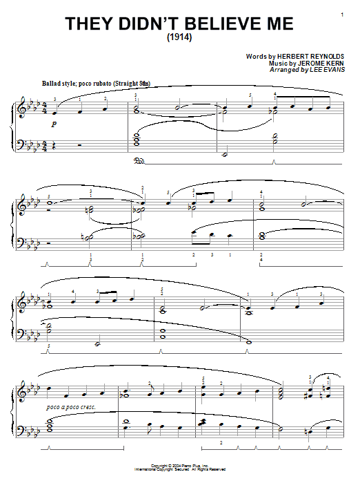 Jerome Kern They Didn't Believe Me sheet music notes and chords. Download Printable PDF.