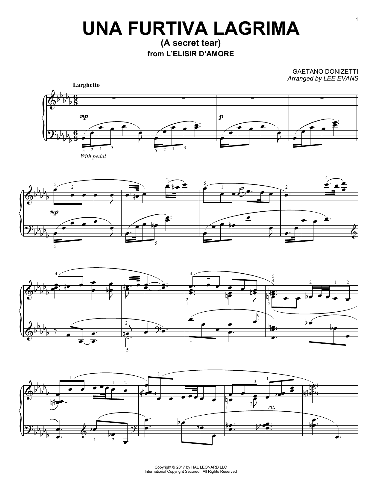 Lee Evans Una Furtiva Lagrima (The Elixir Of Love) sheet music notes and chords