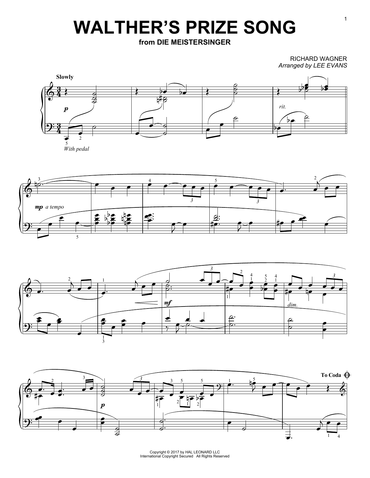 Lee Evans Walther's Prize Song sheet music notes and chords. Download Printable PDF.