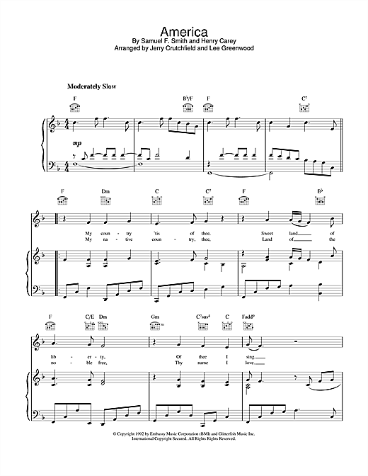Lee Greenwood America sheet music notes and chords