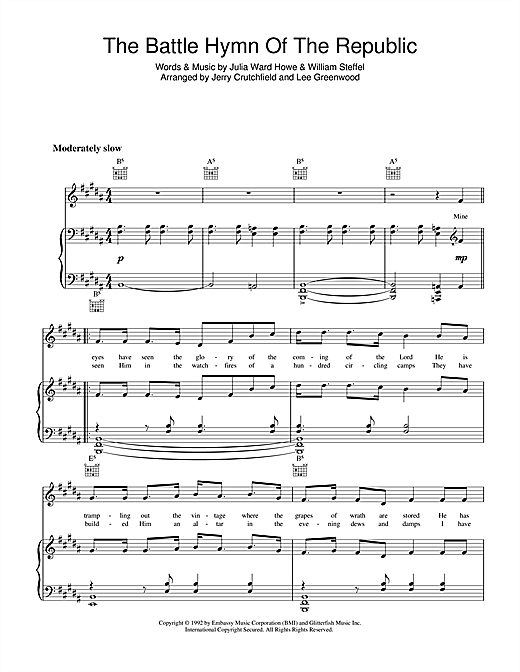 Lee Greenwood Battle Hymn Of The Republic sheet music notes and chords. Download Printable PDF.