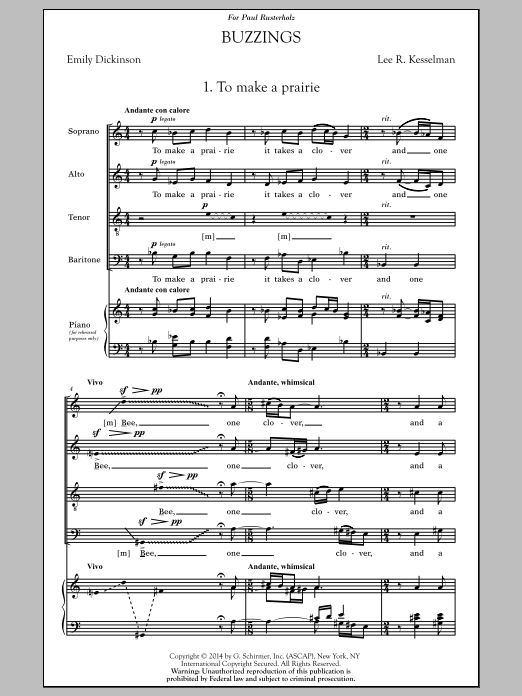 Lee Kesselman Buzzings sheet music notes and chords. Download Printable PDF.
