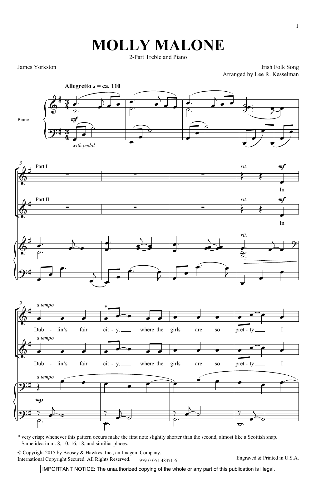 Lee Kesselman Molly Malone sheet music notes and chords. Download Printable PDF.