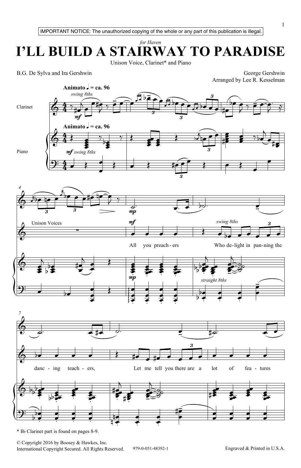 Lee R. Kesselman I'll Build A Stairway To Paradise sheet music notes and chords