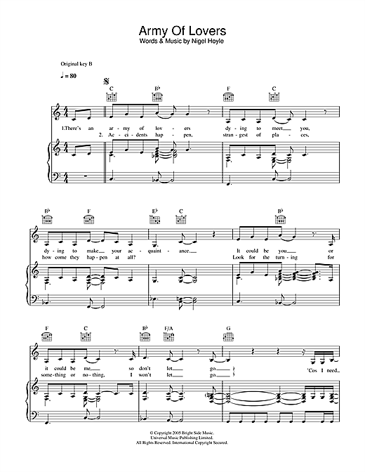 Lee Ryan Army Of Lovers sheet music notes and chords. Download Printable PDF.