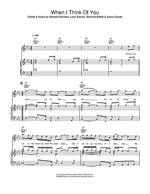 Lee Ryan When I Think Of You sheet music notes and chords