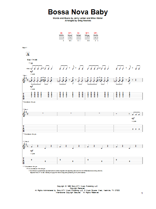 Leiber And Stoller Bossa Nova Baby sheet music notes and chords. Download Printable PDF.