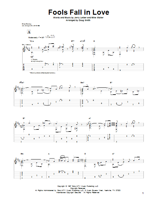 Leiber And Stoller Fools Fall In Love sheet music notes and chords. Download Printable PDF.