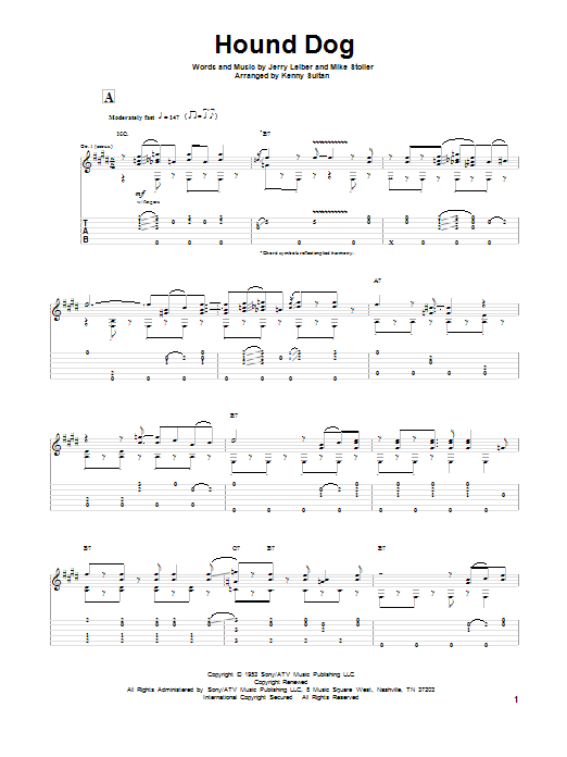 Leiber And Stoller Hound Dog sheet music notes and chords. Download Printable PDF.