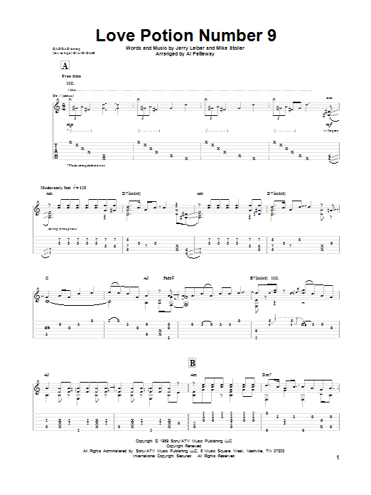 Leiber And Stoller Love Potion Number 9 sheet music notes and chords. Download Printable PDF.
