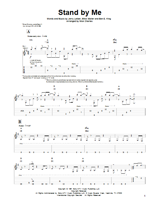 Leiber And Stoller Stand By Me sheet music notes and chords. Download Printable PDF.