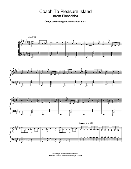 Leigh Harline Pinocchio (Coach To Pleasure Island) sheet music notes and chords