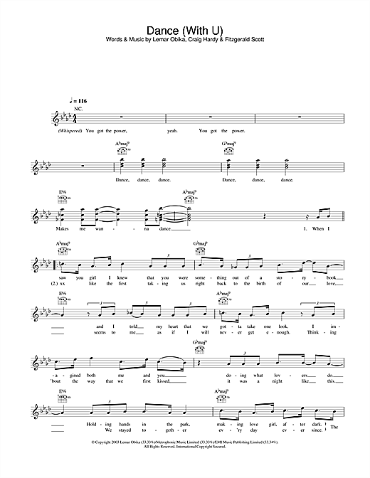Lemar Dance (With U) sheet music notes and chords. Download Printable PDF.
