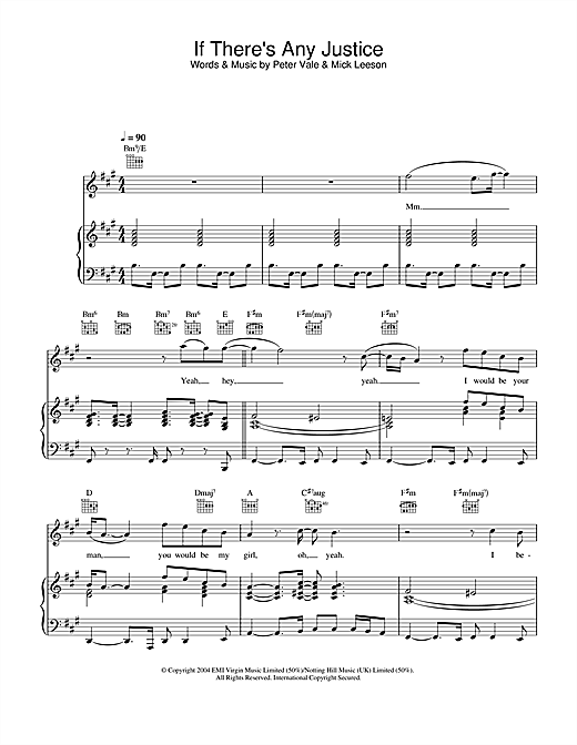 Lemar If There's Any Justice sheet music notes and chords. Download Printable PDF.
