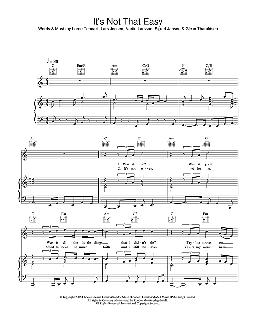 Lemar It's Not That Easy sheet music notes and chords. Download Printable PDF.