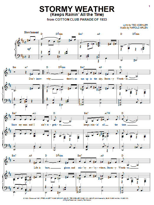 Lena Horne Stormy Weather (Keeps Rainin' All The Time) sheet music notes and chords. Download Printable PDF.