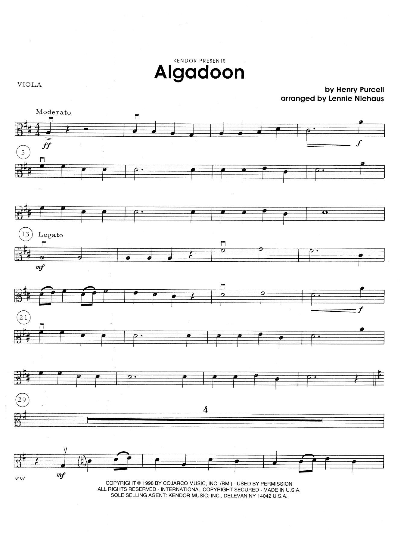 Lennie Niehaus Algadoon - Viola sheet music notes and chords. Download Printable PDF.