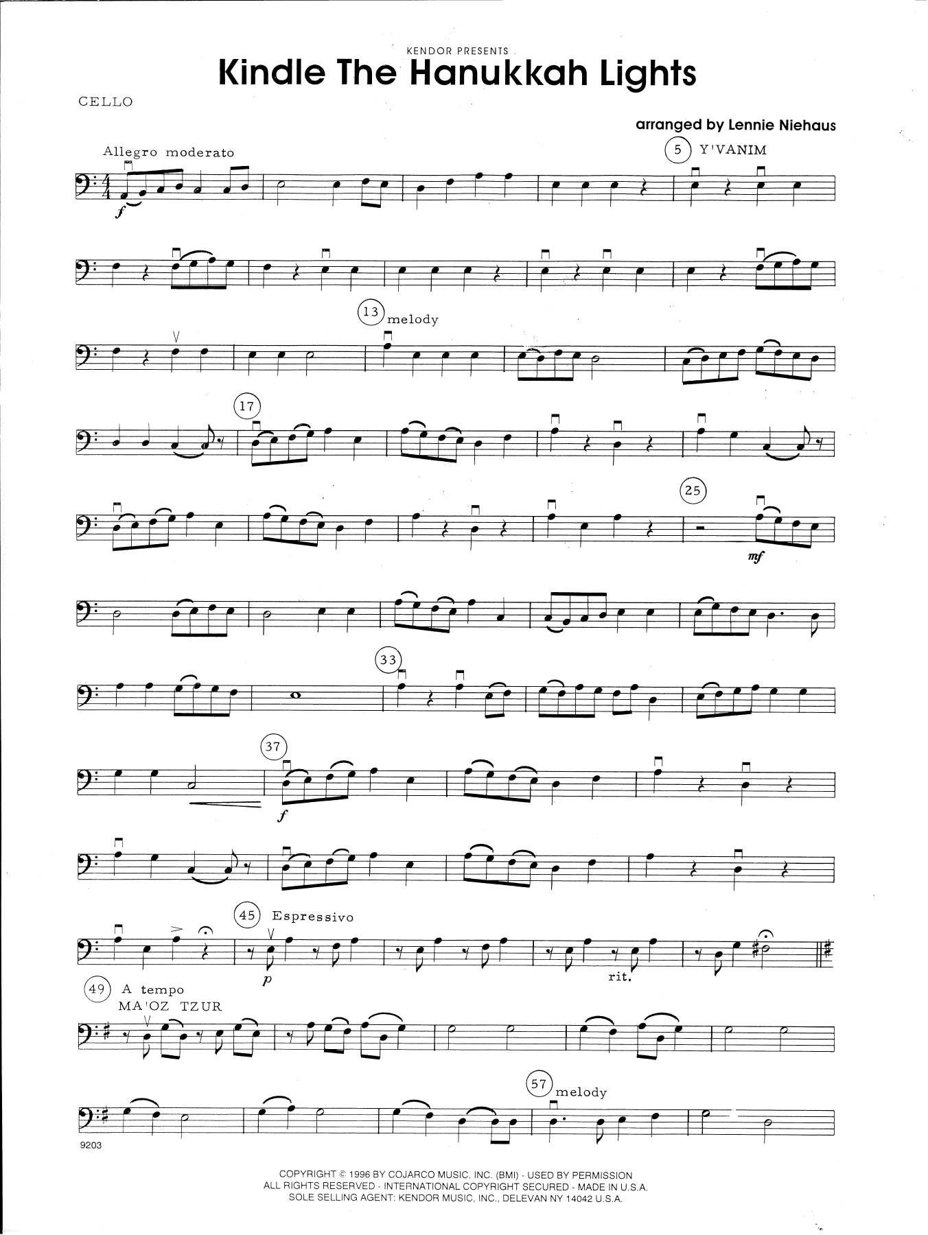 Lennie Niehaus Kindle The Hanukkah Lights - Cello sheet music notes and chords. Download Printable PDF.