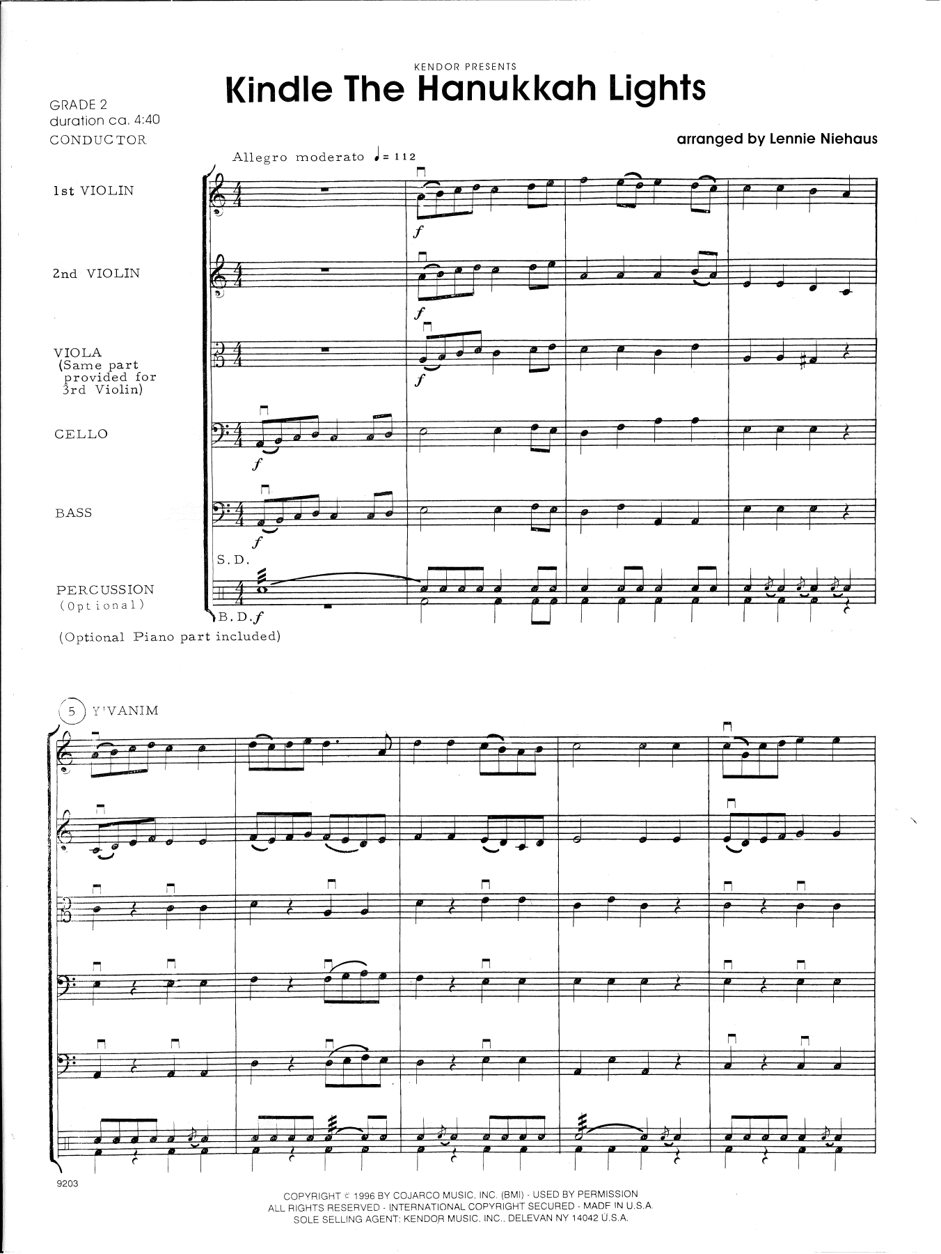 Lennie Niehaus Kindle The Hanukkah Lights - Full Score sheet music notes and chords. Download Printable PDF.