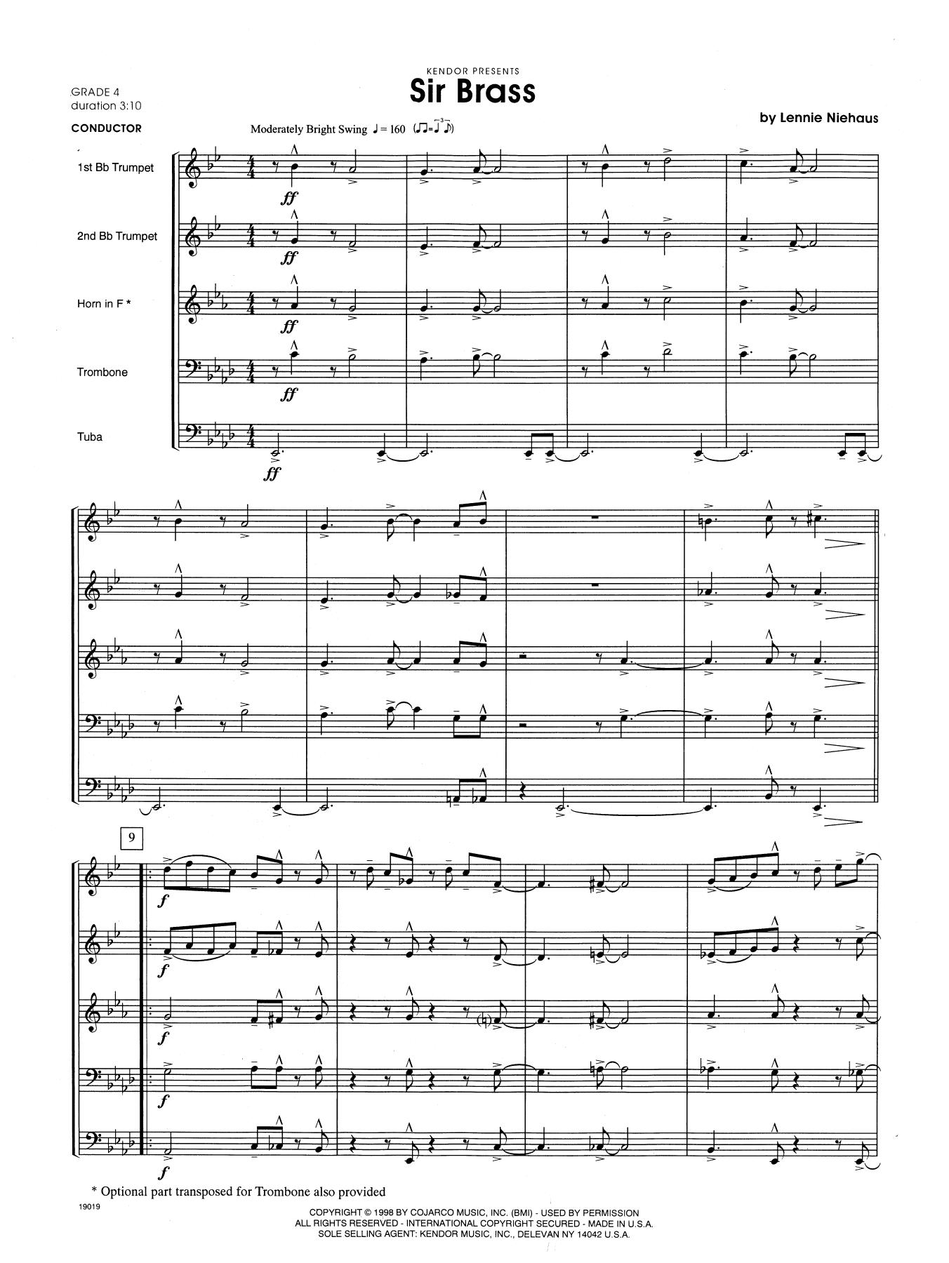 Lennie Niehaus Sir Brass - Full Score sheet music notes and chords. Download Printable PDF.