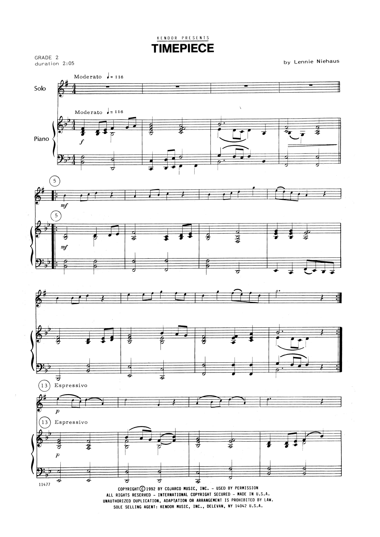 Lennie Niehaus Timepiece - Piano Accompaniment sheet music notes and chords. Download Printable PDF.