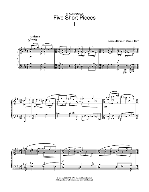 Lennox Berkeley Five Short Pieces, No.1, Op.4 sheet music notes and chords. Download Printable PDF.