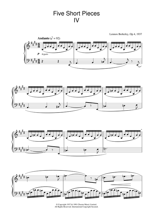 Lennox Berkeley Five Short Pieces, No.4, Op.4 sheet music notes and chords. Download Printable PDF.