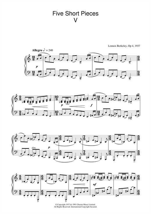 Lennox Berkeley Five Short Pieces, No.5, Op.4 sheet music notes and chords