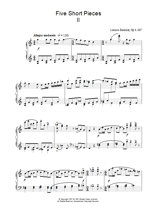 Lennox Berkeley Five Short Pieces, No.2, Op.4 sheet music notes and chords. Download Printable PDF.