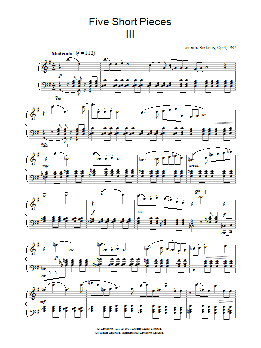 Lennox Berkeley Five Short Pieces, No.3, Op.4 sheet music notes and chords. Download Printable PDF.