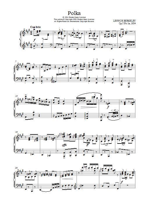 Lennox Berkeley Polka, Op.5 No.1a sheet music notes and chords. Download Printable PDF.
