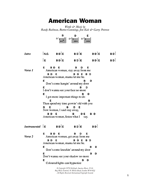Lenny Kravitz American Woman sheet music notes and chords. Download Printable PDF.