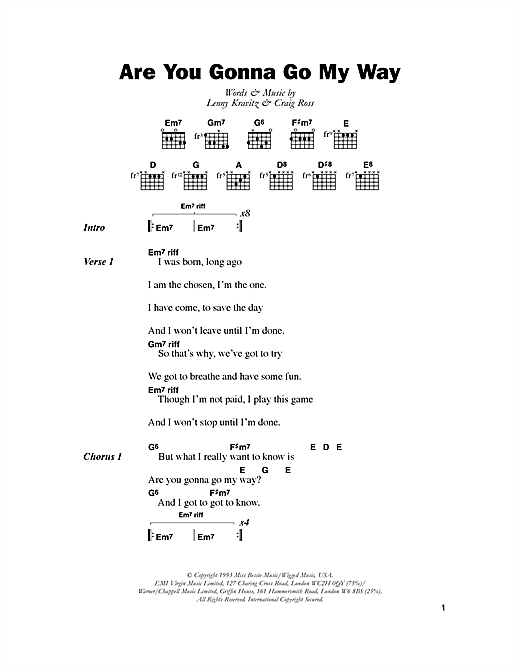 Lenny Kravitz Are You Gonna Go My Way sheet music notes and chords. Download Printable PDF.