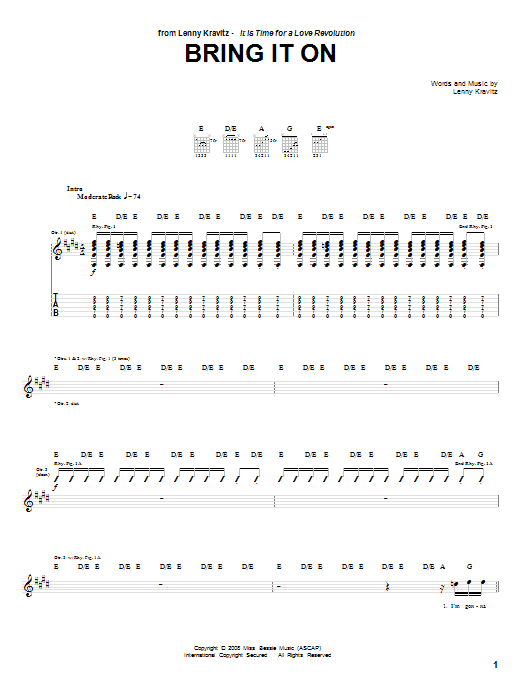 Lenny Kravitz Bring It On sheet music notes and chords. Download Printable PDF.