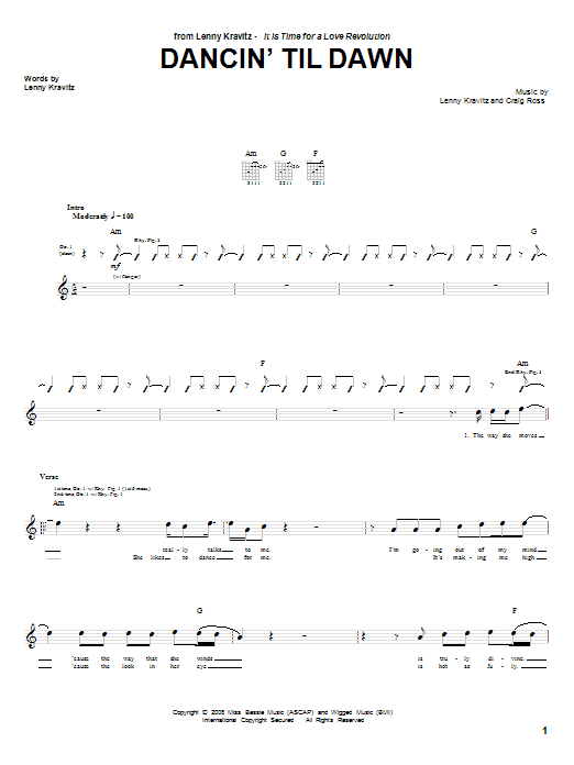 Lenny Kravitz Dancin' Til Dawn sheet music notes and chords. Download Printable PDF.