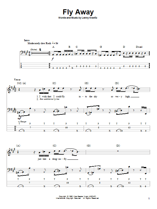 Lenny Kravitz Fly Away sheet music notes and chords. Download Printable PDF.