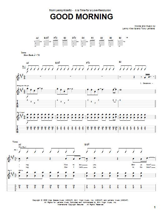 Lenny Kravitz Good Morning sheet music notes and chords. Download Printable PDF.