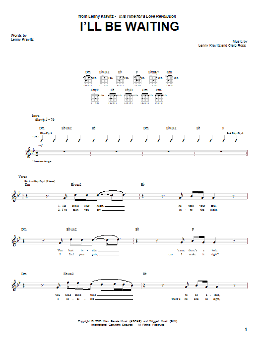 Lenny Kravitz I'll Be Waiting sheet music notes and chords. Download Printable PDF.