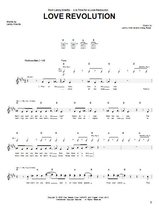 Lenny Kravitz Love Revolution sheet music notes and chords. Download Printable PDF.