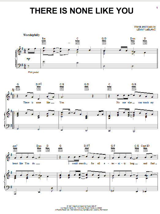 Lenny LeBlanc There Is None Like You sheet music notes and chords. Download Printable PDF.