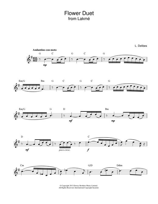 Leo Delibes Flower Duet (from Lakme) sheet music notes and chords. Download Printable PDF.