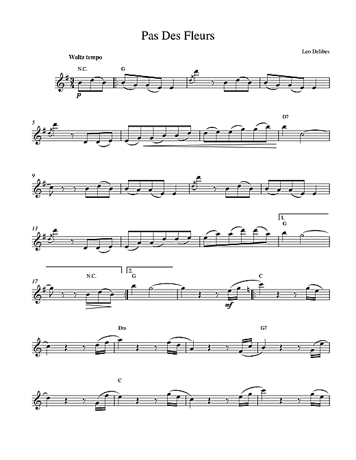 Leo Delibes Pas Des Fleurs sheet music notes and chords. Download Printable PDF.