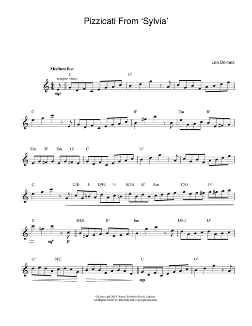 Leo Delibes Pizzicati From Sylvia sheet music notes and chords