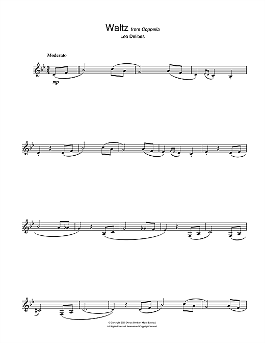 Leo Delibes Waltz (from Coppelia) sheet music notes and chords. Download Printable PDF.