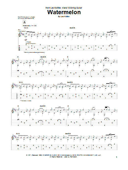 Leo Kottke Watermelon sheet music notes and chords. Download Printable PDF.