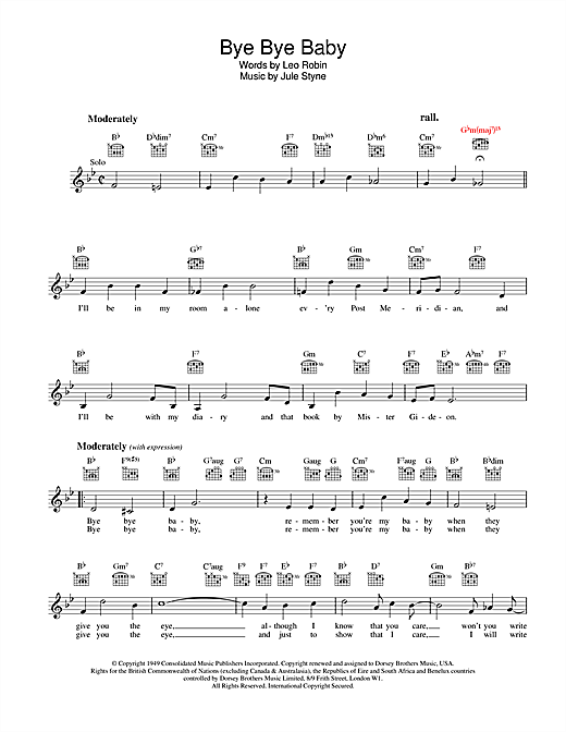 Leo Robin Bye Bye Baby sheet music notes and chords. Download Printable PDF.