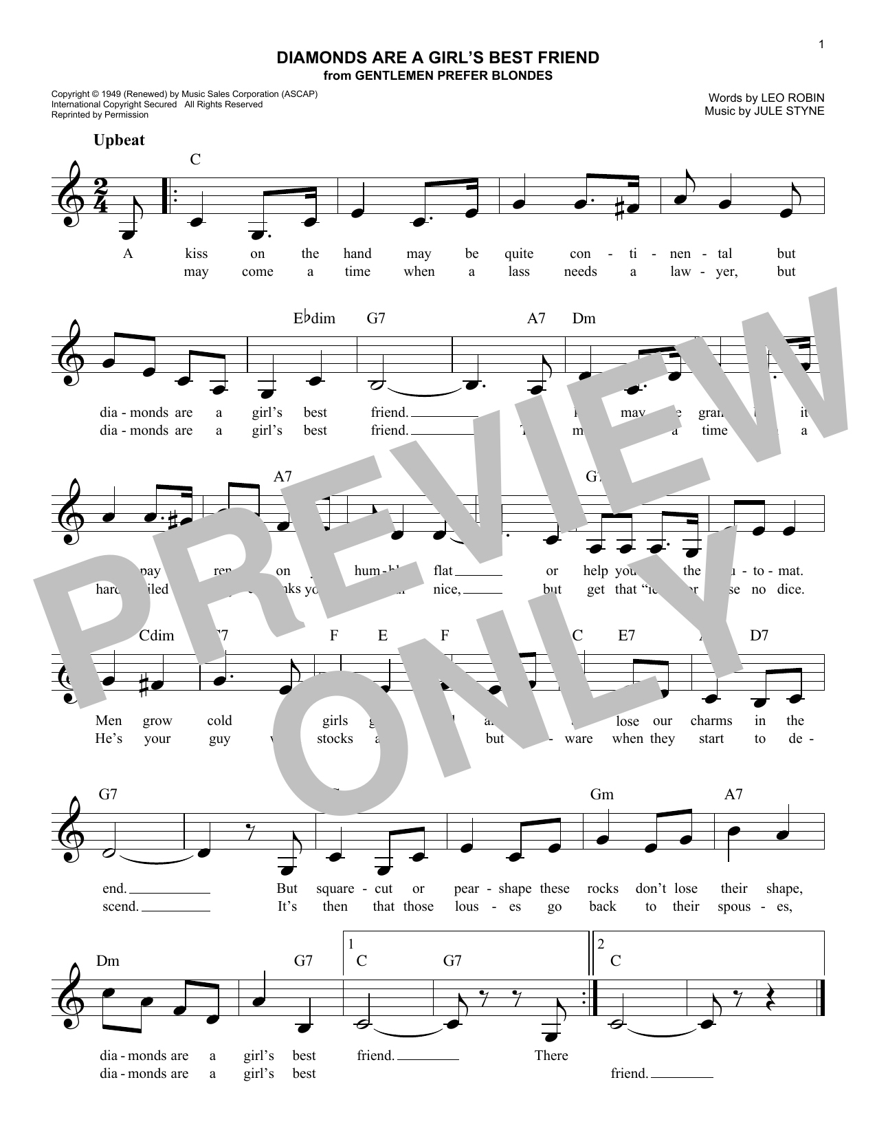 Leo Robin Diamonds Are A Girl's Best Friend sheet music notes and chords. Download Printable PDF.