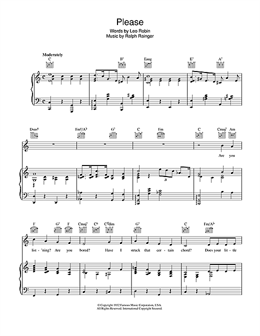 Leo Robin Please sheet music notes and chords. Download Printable PDF.