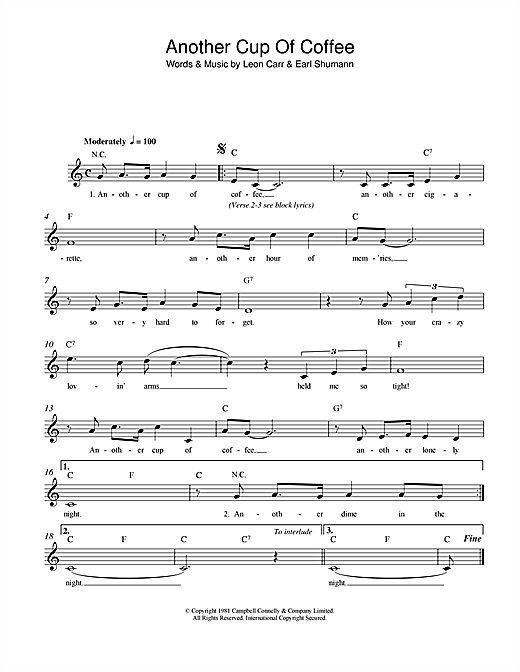 Leon Carr Another Cup Of Coffee sheet music notes and chords. Download Printable PDF.