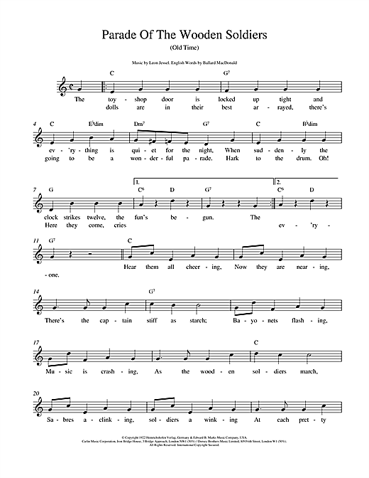 Leon Jessel Parade Of The Wooden Soldiers sheet music notes and chords. Download Printable PDF.